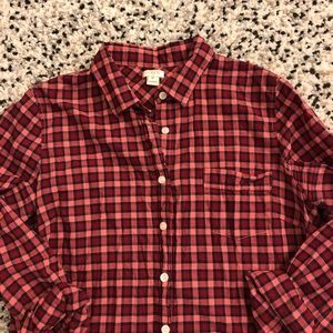 J. Crew Factory Tops - J. Crew red gingham button down shirt